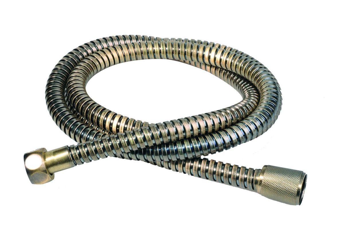 Шланг для душа Argo Eur, цвет: латунь, 150 см. 33102BA900Универсальный гибкий шланг для душа Argo Eur с внешней оболочкой из нержавеющей стали, сочетает в себе отличные эксплуатационные характеристики и приятный дизайн. Прочный и надежный шланг эргономичен и прост в монтаже, удобен в использовании. Длина: 150 см.Выходы шлага: 1/2.Тип фитинга: гайка – конус с насечкой. Тип соединения оплетки: двойной замок.