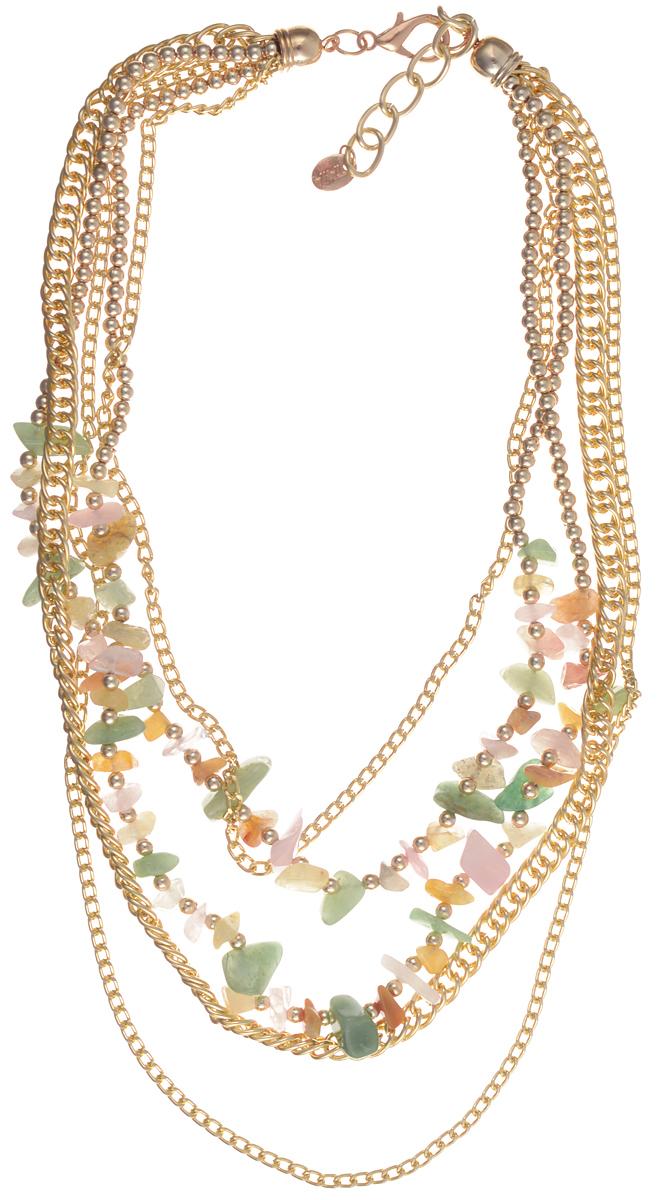 Колье Taya, цвет: золотистый, зеленый, желтый. T-B-1018239889|Ожерелье (короткие многоярусные бусы)Стильное колье Taya не оставит равнодушной ни одну любительницу изысканных и необычныхукрашений. Колье представляет собой многоярусные бусы, выполненные из пластиковых бусин инатурального камня, и дополненные металлическими цепочками. Колье имеет надежнуюзастежку-карабин с регулирующей длину цепочкой.Такое колье позволит вам с легкостьювоплотить самую смелую фантазию и создать собственный, неповторимый образ.