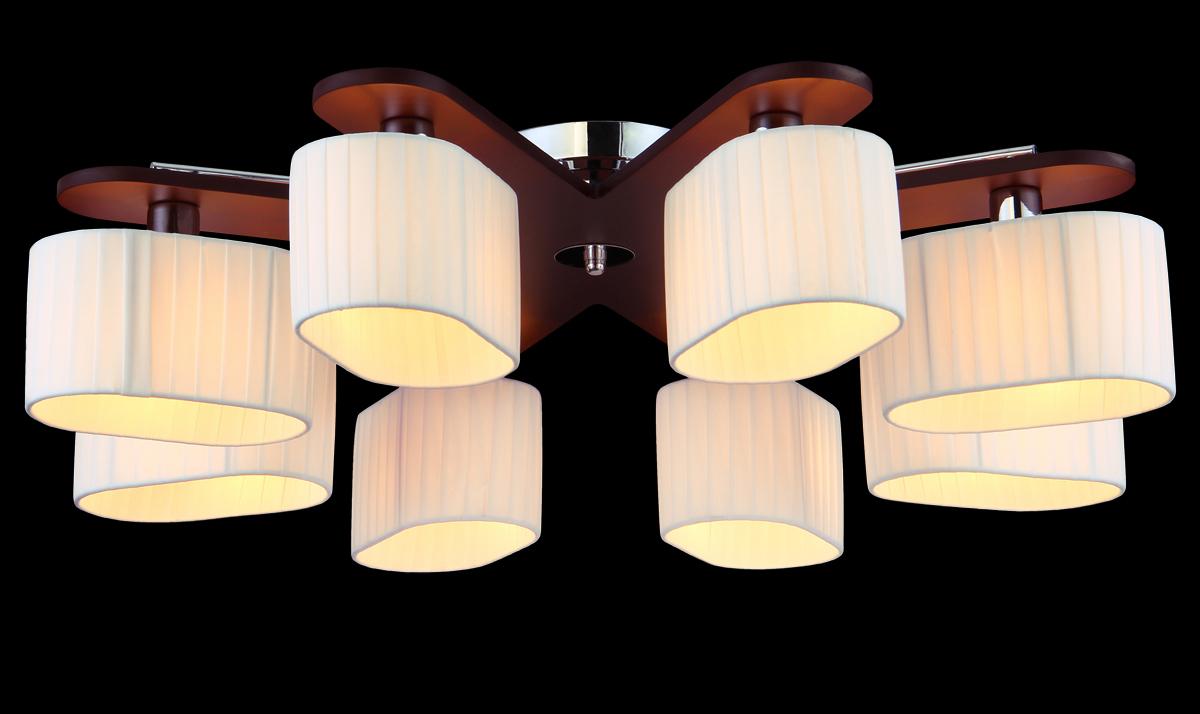 Люстра Natali Kovaltseva, 8 x E14, 60W. 10714/8C3001Люстра Natali Kovaltseva, выполненная в эко стиле, станет украшением вашей комнаты и оригинально дополнит интерьер. Изделие крепится к потолку. Такая люстра универсальна и отлично подойдет для освещения кабинета, столовой, кухни, спальни или гостиной. Люстра выполнена из металла с хромированным покрытием и индийского красного дерева тун. Изделие имеет 8 плафонов, выполненных из легкого текстиля в складку.В коллекциях Natali Kovaltseva представлены разные стили - от классики до хайтека. Дизайн и технологическая составляющая продукции разрабатывается в R&D центре компании, который находится в г. Дюссельдорф, Германия. При производстве продукции используются высококачественные и эксклюзивные материалы: хрусталь ASFOR, муранское стекло, перламутр, 24-каратное золото, бронза. Производство светильников соответствует стандарту системы менеджмента качества ISO 9001-2000. На всю продукцию ТМ Natali Kovaltseva распространяется гарантия.