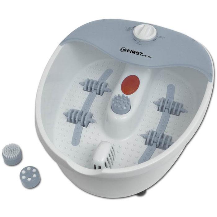 First FA-8114-1 массажная ванночка для ногAH8034+AS501Массажная ванночка для ног First FA-8114-1 поможет вам расслабиться после тяжелого трудового дня с помощьюмассажа. На выбор представлено несколько видов массажа: пузырьковый, инфракрасный, роликовый,вибромассаж, а также массирование с помощью насадок. Прибор имеет функцию поддержания температуры,прорезиненные ножки для максимальной устойчивости, а также удобное отверстие для слива воды.