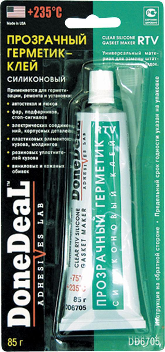Прозрачный силиконовый герметик-клей для стекол Done Deal. DD 6705PM 6515Прозрачный, водонепроницаемый силиконовый герметик-клей широкого спектра использования.Заполняет пустоты и неплотности.Используется для установки, ремонта и герметизации автомобильных стекол, люков, фар, подфарников, стоп-сигналов, электрических соединений, осветительных приборов, внутренних отделочных панелей, приборных досок корпусных деталей, пластиковых элементов кузова, молдингов, резиновых уплотнителей кузова.Благодаря высокой влагоустойчивости и рабочему диапазону температур от -70°C до +260°C может применяться снаружи, внутри и в подкапотном пространстве автомобиля.Универсальный материал для замены штатных (твердых) прокладок.Выдерживает ударные и вибрационные нагрузки.Устойчив к действию агрессивных сред и автомобильных технических жидкостей.