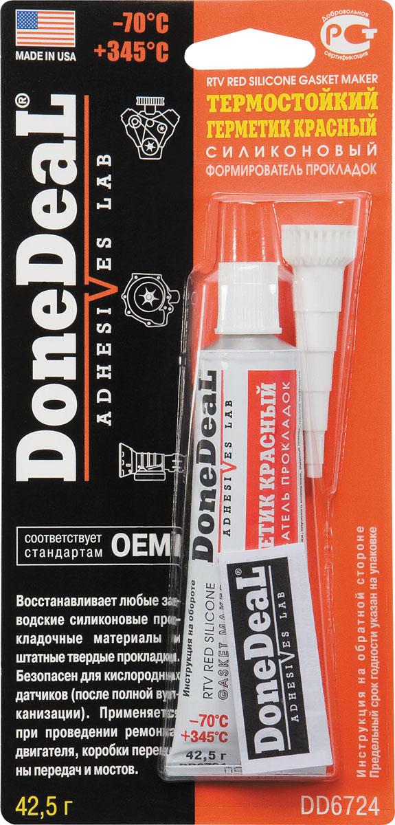 Термостойкий красный силиконовый формирователь прокладок Done Deal. DD 6724DAVC150Наиболее устойчивый среди герметиков к воздействию смазочных материалов (масла). Применяется для проведения ремонтных работ двигателя, коробки перемены передач и мостов. Термостойкий герметик-формирователь прокладок силиконовый (красный) для ремонтных работ имеет уменьшенное время полной полимеризации-узел можно эксплуатировать через 10-12 часов. Характеристики: Состав - ацетокси-силикон, функциональные добавки. Цвет - красный. Термоустойчивость - от -70 °С до +345 °С. Время схватывания - 15 мин. Время отвердевания - 10-12 ч. Полная полимеризация - 24 ч. Область применения: Применяется при проведении ремонтов узлов и агрегатов двигателя и трансмиссии, подверженных повышенным рабочим температурам. Ремонт узлов и агрегатов, работающих в постоянном контакте со смазочными материалами. Герметизация ответственных узлов, где недопустимо нарушение герметичности. Заменяет любые заводские силиконовые прокладочные материалы, штатные твердые и резиновые прокладки. Особенности и преимущества: DD6724 может применяться при ремонте автомобилей, оборудованных датчиком кислорода (авто может эксплуатироваться через 10-12 часов после ремонта); обладает устойчивостью к перепадам температуры и вибрации; дополнительное нанесение на штатные прокладки улучшает их термостойкость; устойчив к воздействию автомобильных жидкостей (не рекомендуется длительный контакт с бензином); не приводит к коррозии деталей из стальных, чугунных или алюминиевых сплавов; сокращенное время вулканизации увеличивает производительность ремонтных работ.