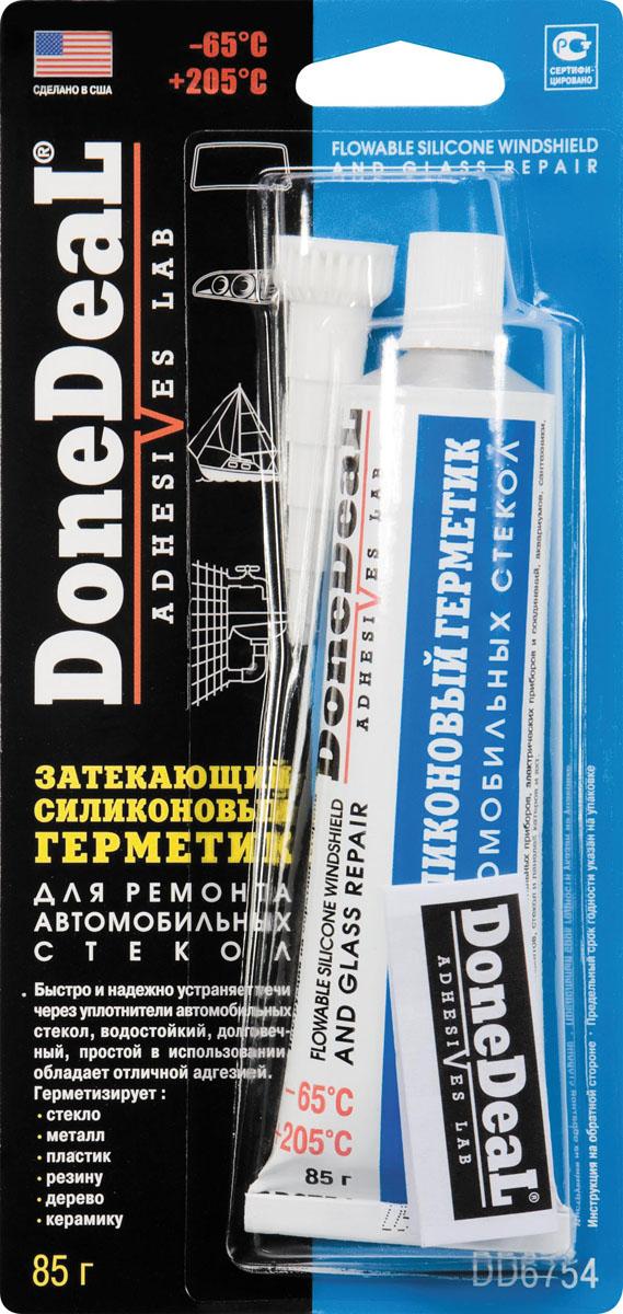 Затекающий герметик силиконовый для ремонта стекол Done Deal. DD 6754кн12-60авцБыстро и надежно устраняет течи через уплотнители автомобильных стекол. Долговечный, водостойкий, простой в использовании, обладает отличной адгезией. Специальная затекающая формула находит и герметизирует места протечек через уплотнители стекол. Обеспечивает эластичность, виброустойчивость, водо- и термостойкость.Характеристики: Состав - этилтриаксетоксисилан, метилтриацетоксисилан, функциональные добавки. Цвет - прозрачный. Термоустойчивость - от -65 °С до +205 °С. Время схватывания - 30 мин. Время отвердевания - 10-12 ч. Время полной полимеризации - 24 ч. Область применения: Применяется для герметизации стекла, металла, дерева, пластика, резины, керамики, зацементированных поверхностей. Может применяться для ремонта аквариумов. Особенности и преимущества: DD6754 обладает хорошей адгезией и к стеклу, и к окрашенному металлу; образует эластичное вибро-, водо- и термоустойчивое соединение.