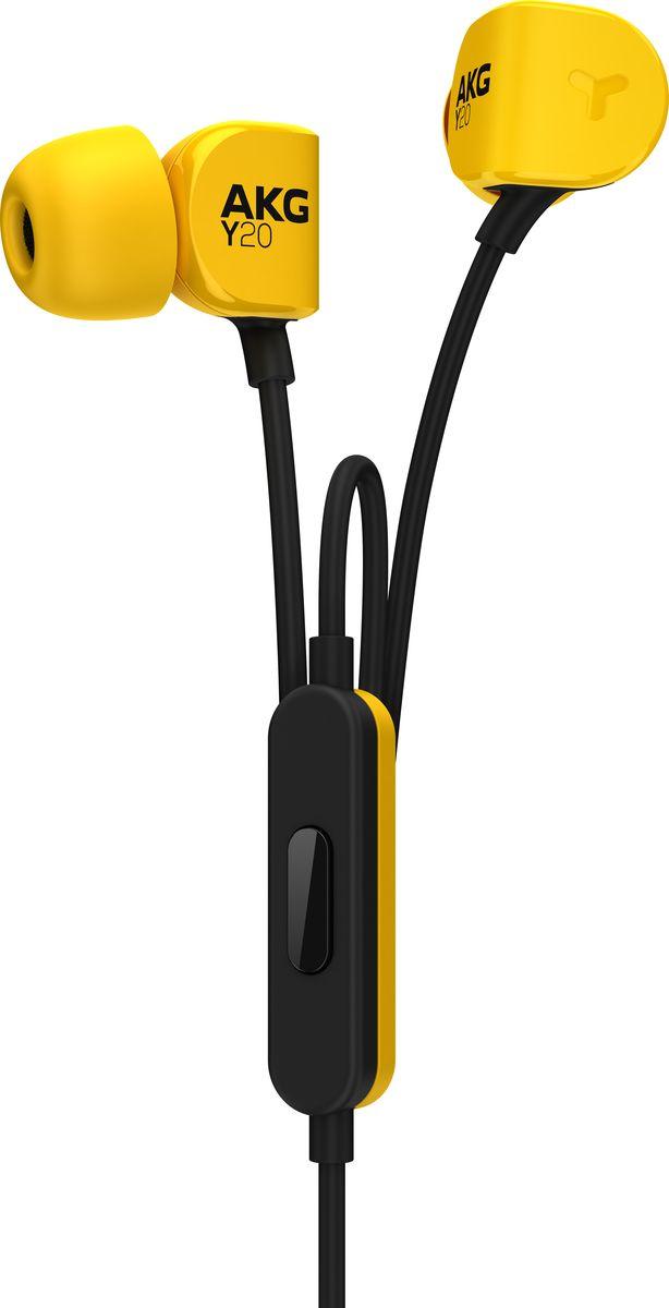 AKG Y20U, Yellow наушникиH00001017AKG Y20U - это не только мощные 8-мм динамики, обеспечивающие высококачественное звучание, но инаклонные вкладыши и сверхмягкие силиконовые амбушюры различных размеров, обеспечивающие прилеганиек уху почти в любой ситуации, что делает их идеальным выбором для людей, любящих жизнь в движении.Поликарбонат, из которого они изготовлены, сочетает в себе легкость и прочность и еще больше подчеркиваетвнешнюю привлекательность. Наушники также оснащены универсальным пультом ДУ со встроенныммикрофоном, который позволяет отвечать на телефонные звонки.Комплект силиконовых амбушюр:Эти наушники снабжены комплектом силиконовых амбушюр различного размера, поэтому вы с легкостьюсможете подобрать подходящий размер.Фирменный звук AKG:Результат более чем 60-летнего опыта работы с лучшими профессионалами. Фирменный звук AKG только дляваших ушей.Универсальная гарнитура с пультом ДУ (1 кнопка):Встроенная в кабель однокнопочная гарнитура совместима с большинством современных устройств.Компактная конструкция:Идеально подходит людям, которые проводят много времени в путешествиях.