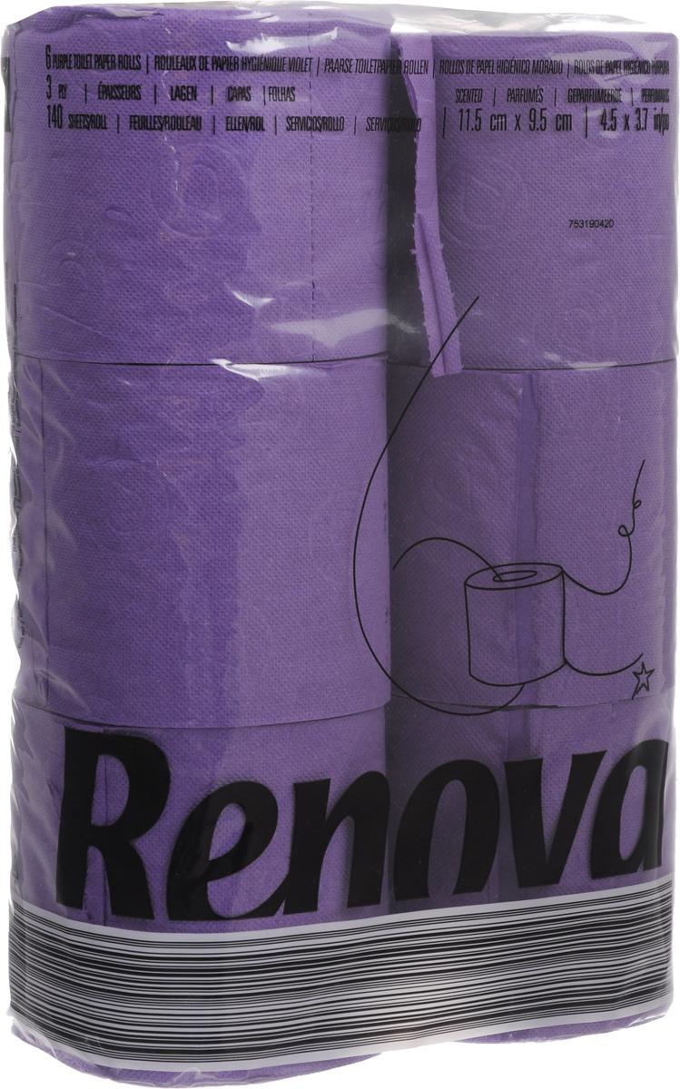 Туалетная бумага Renova Color, трехслойная, ароматизированная, цвет: пурпурный, 6 рулонов.5000759Туалетная бумага Renova Color изготовлена по новейшей технологии из 100% ароматизированной целлюлозы с лосьоном, благодаря чему она имеет тонкий аромат, очень мягкая, нежная, но в тоже время прочная.Перфорация надежно скрепляет слои бумаги.Туалетная бумага Renova Color сочетает в себе простоту и оригинальность.Состав: 100% ароматизированная целлюлоза.Количество листов: 140 шт. Количество слоев: 3. Размер листа: 11,5 х 9,7 см. Количество рулонов: 6 шт.