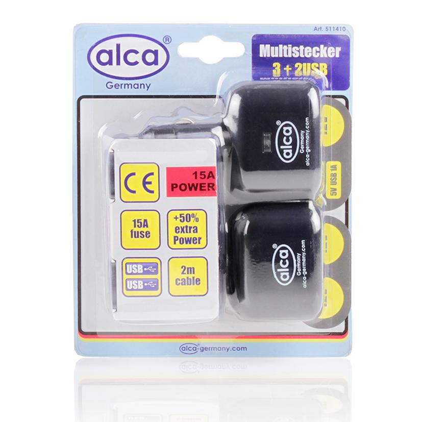 Розетка прикуривателя на 3 выхода Alca, 12V+2 USB 5VSC-FD421005Розетка прикурив на 3 многофункциональных выхода 12V+2 выхода USB 5V Предохранитель 15А Удлинитель 2 м, контрольная подсветка. Корпус из термостойкого материала.