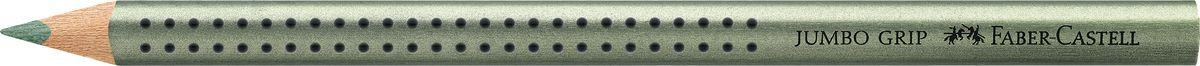 Faber-Castell Карандаш цветной Jumbo Grip цвет зеленый металликPP-220Faber-Castell Jumbo Grip - цветной карандаш эргономичной трехгранной формы с утолщенным корпусом. Запатентованная Grip антискользящая зона захвата с малыми массажными шашечками. Мягкий грифель идеален для рисования и тренировки письма. Специальная технология вклеивания (SV) предотвращает поломку грифеля.Корпус покрыт лаком на водной основе - бережным по отношению к окружающей среде и здоровью детей.Качественная древесина - гарантия легкого затачивания при помощи стандартных точилок. Грифель размывается водой. Отстирывается с большинства обычных тканей.