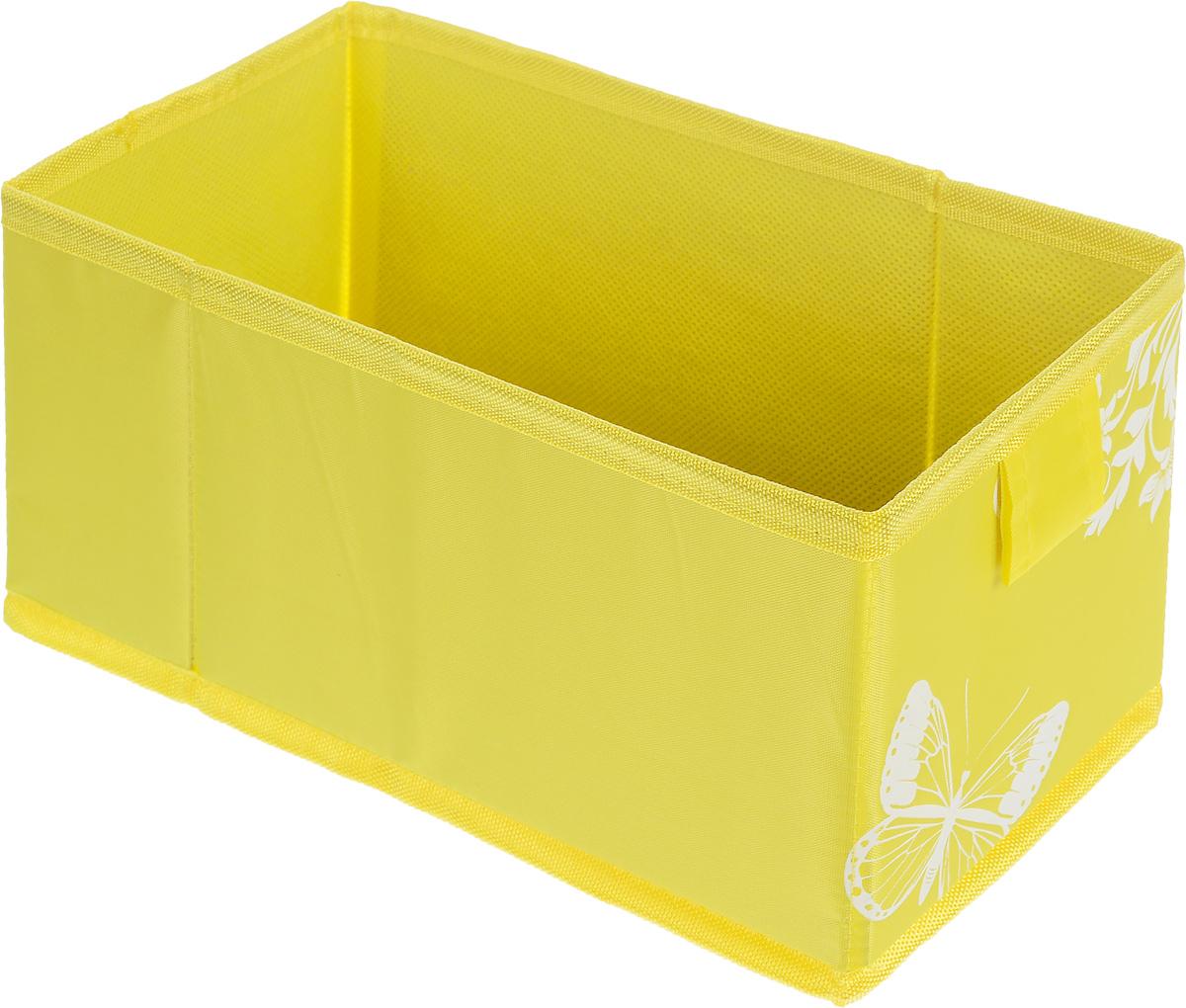 Коробка для хранения Hausmann Butterfly, цвет: желтый, 13 x 27 x 12,5 смS03301004Коробка для хранения вещей Hausmann Butterfly поможет легко организовать пространство в шкафу или в гардеробе. Изделие выполнено из нетканого материала и полиэстера. Коробка держит форму благодаря жесткой вставке из картона, которая устанавливается на дно.Боковая поверхность оформлена красивым принтом с изображением бабочек. В такой коробке удобно хранить нижнее белье, ремни и различные аксессуары. Размер кофра (в собранном виде): 13 x 27 x 12,5 см.