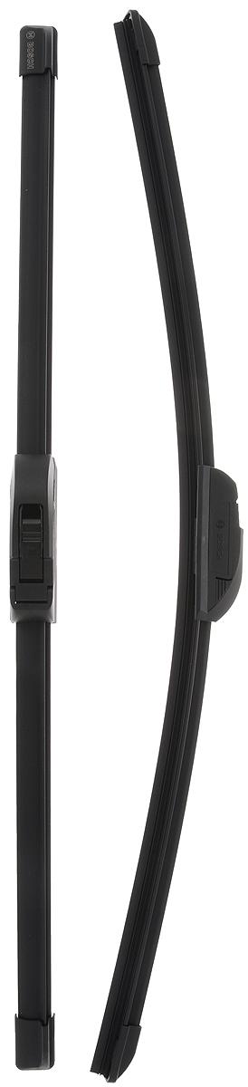 Щетка стеклоочистителя Bosch AR550S, бескаркасная, со спойлером, длина 53/55 см, 2 шт10503Комплект Bosch AR550S состоит из двух бескаркасныхщеток разного размера. Щетки выполнены посовременной технологии из высококачественныхматериалов и предназначены для установки напереднее стекло автомобиля. Отличаются высокимкачеством исполнения и оптимально подходят длязамены оригинальных щеток, установленных наконвейере. Обеспечивают качественную очистку стеклав любую погоду. AEROTWIN - серия бескаркасных щеток компанииBosch. Щетки имеют встроенный аэродинамическийспойлер, что делает их эффективными на высокихскоростях, и изготавливаются из многокомпонентнойрезины с применением натурального каучука.Комплектация: 2 шт.