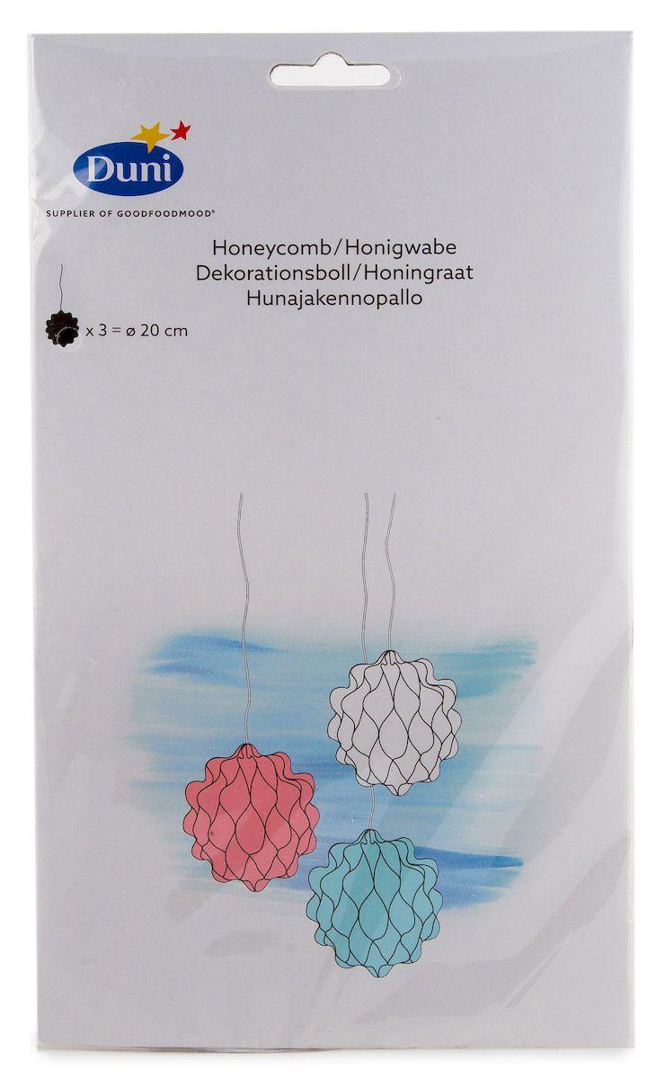 Шары для украшения интерьера Duni Mixem up. Пчелиные соты, бумажные, диаметр 20 см, 3 штKT415EШары Duni Mixem up. Пчелиные соты выполнены избумаги. Изделия оснащены лентами для подвешивания.Шары можно сочетать с другими украшения каквоздушными шарами, ленточками цветами.Оригинальный дизайн шаров сделает любой праздникнезабываемым и волшебным.Диаметр шара: 20 см.Количество шаров: 3 шт.