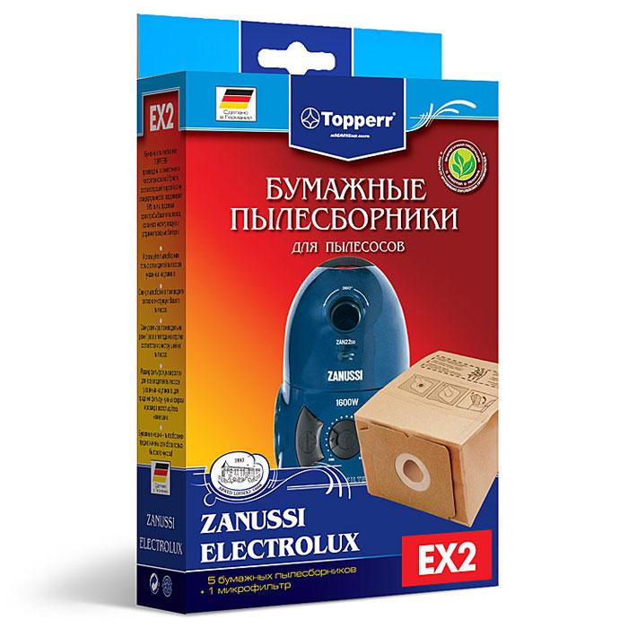 Topperr EX 2 фильтр для пылесосовAEG, Electrolux, Thomas, Zanussi, 5 шт1136Бумажные пылесборники EX 2 для пылесосов AEG, Electrolux, Thomas, Zanussi изготовлены из экологически чистой трехслойной бумаги, соответствующей европейскому стандарту качества, задерживают 99% пыли, продлевая срок службы пылесоса, сохраняют чистоту воздуха и устраняют вредные бактерии.Модели и серии пылесосов: AEG: Vampyrino: 100-199, 920, Car&Clean, Colore, E, EC, LX, RX, S, SX, Oko, Ecotec, Space; Vampyr: 1500-1905, 2002.1, 2300, 41.., 5000-5999, CE 700, CE 950 Ecotec, CE 100-999, CE 1700.0, CE 1800 Comfort, CE 2000-2999, CE 4100-4199, CE 42.., 5.1700, CE Azuro, CE Jubilee Electrolux: XIO Z 1010 – Z 1037; Boss Z 1015, Z 1035; Boss Plus Z 1025; Mega Boss Z 1037, Z 1035; Tango Z 5001; Samba Z 5002; Bolero Z 5003; Filio Z 1905; Filio Chrom Z 2940; Filio Plus Z 2950 Thomas: Pico electronic; Comfort electronic Zanussi: ZAN 2300-ZAN 2311, ZAN 2240-ZAN 2270, ZAN 3425-ZAN 3435, ZAN 3712, ZAN 4415, ZAN 5000