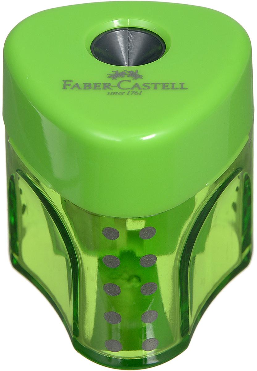 Faber-Castell Точилка Grip цвет зеленый 183403611650Точилка с автоматическим закрытием Faber-Castell Grip предназначена для затачивания карандашей классического диаметра.Прозрачный контейнер позволяет визуально определить уровень заполнения и вовремя произвести очистку. Острые стальные лезвия на отделении обеспечивают высококачественную и точную заточку карандашей.