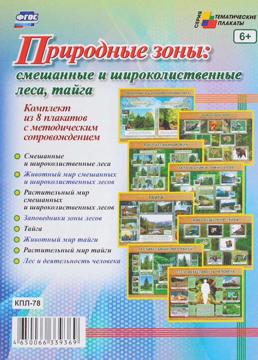 Природные зоны. Смешанные и широколиственные леса, тайга (комплект из 8 плакатов)