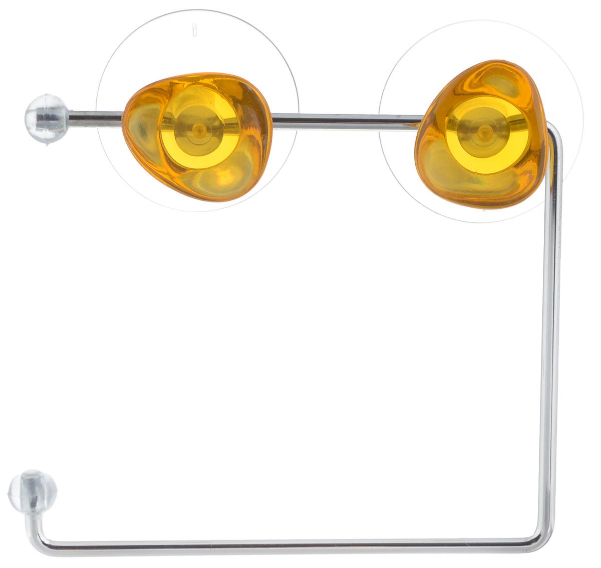 Держатель для туалетной бумаги Axentia Amica, на присосках, цвет: желтый, стальнойUP210DFДержатель для туалетной бумаги Axentia Amica изготовлен извысококачественной стали с хромированным покрытием,которое устойчиво квлажности и перепадам температуры.Держатель поможет оформить интерьер в выбранном стиле,разбавляяпространство туалетной комнаты различными элементами.Он хорошо впишется влюбой интерьер, придавая ему черты современности.Для большего удобства изделие крепится к поверхностям спомощью двухприсосок из поливинилхлорида (входят в комплект), что даетвозможность принеобходимости менять их месторасположение.Размер держателя: 14,5 х 12,5 х 4,5 см.Диаметр присоски: 5,5 см.