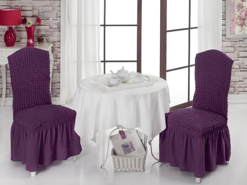 Набор чехлов для стульев Burumcuk, цвет: фиолетовый, 2 шт94672Чехол на стул Burumcuk выполнен из высококачественного полиэстера и хлопка скрасивым рельефом. Закрепляется на стул при помощи резинки и веревок.Предназначен для классического стула со спинкой. Такой чехол изысканнодополнит интерьер вашего дома.Ширина посадочных мест: 35 см.Длина посадочных мест: 35 см.Высота спинки от посадочного места: 50 см.Ширина спинки: 35 см. Высота юбки: 35 см.