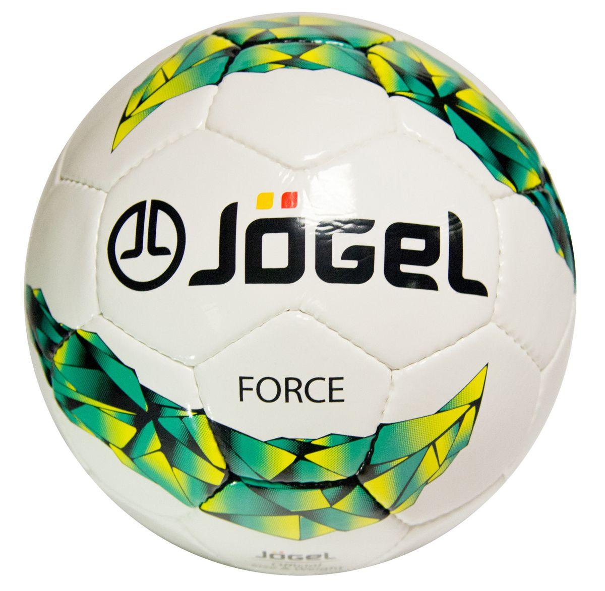 Мяч футбольный Jogel Force, цвет: белый, зеленый, желтый. Размер 5. JS-450200170Футбольный мяч Jogel JS-450 Force имеет покрышку, выполненную из сочетания поливинилхлорида и полиуретана, за счет чего достигаетсядополнительная плотность и износостойкость. Данный мяч предназначен для любительской игры и тренировок любительских команд. Он имеет 4 подкладочных слоя на нетканой основе (смесьхлопка с полиэстером) и латексную камеру с бутиловый ниппелем, который обеспечивает долгое сохранение воздуха в камере.Мяч не рекомендован для игры при низких температурах (ниже +5°С). Вес: 410-450 гр. Длина окружности: 68-70 см. Рекомендованное давление: 0.6-0.8 бар. УВАЖАЕМЫЕ КЛИЕНТЫ! Обращаем ваше внимание на тот факт, что мяч поставляется в сдутом виде. Насос в комплект не входит.