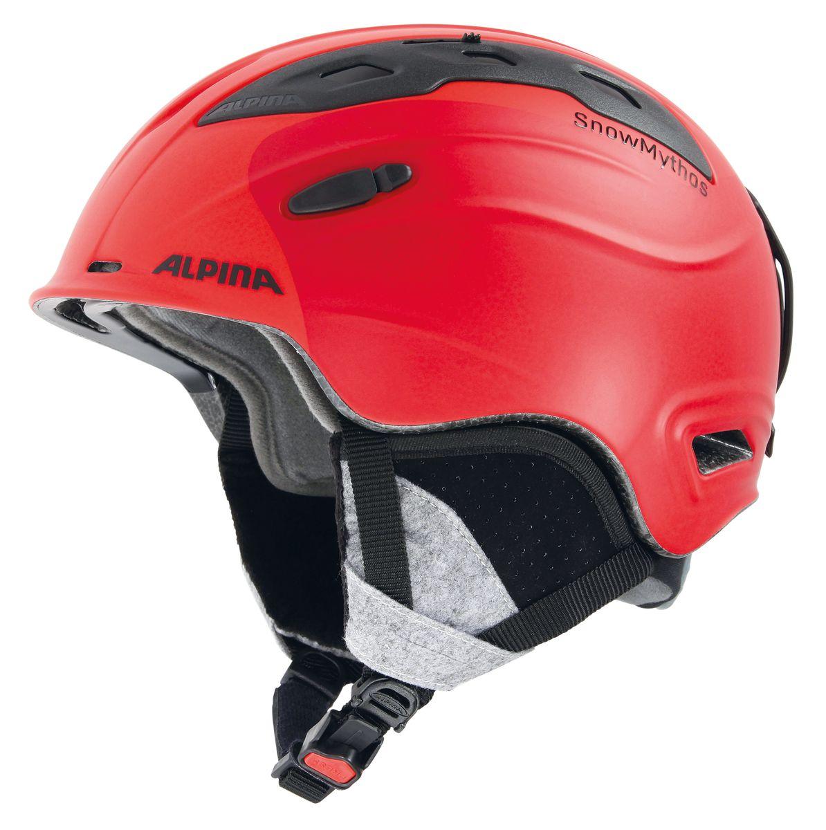 Шлем зимний Alpina Snowmythos, цвет: зеленый. Размер 55-59Karjala Comfort NNNЭкстремально легкая модель шлема Alpina Snowmythos с прекрасными защитными свойствами. Для тех, ищет недорогую модель с клеймом «Сделано в Германии».Технологии: INMOLD TEC - технология соединения внутренней и внешней части шлема при помощи высокой температуры. Данный метод делает соединение исключительно прочным, а сам шлем легким. Такой метод соединения гораздо надежнее и безопаснее обычного склеивания.CERAMIC - особая технология производства внешней оболочки шлема. Используются легковесные материалы экстремально прочные и устойчивые к царапинам. Возможно использование при сильном УФ изучении, так же поверхность имеет антистатическое покрытие.RUN SYSTEM - простая система настройки шлема, позволяющая добиться надежной фиксации.AIRSTREAM CONTROL - регулируемые воздушные клапана для полного контроля внутренней вентиляции.REMOVABLE EARPADS - съемные амбушюры добавляют чувства свободы во время катания в теплую погоду, не в ущерб безопасности. При падении температуры, амбушюры легко устанавливаются обратно на шлем. CHANGEABLE INTERIOR - съемная внутренняя часть. Допускается стирка в теплой мыльной воде.NECKWARMER - дополнительное утепление шеи. Изготовлено из мягкого флиса. 3D FIT - ремень, позволяющий регулироваться затылочную часть шлема. Пять позиций позволят настроить идеальную посадку.