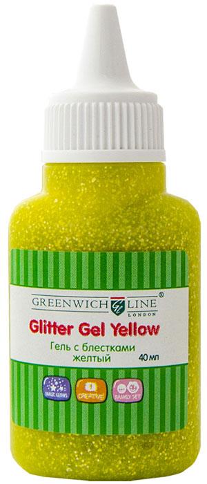 Greenwich Line Гель-краска с блестками цвет желтый 40 мл900140Гель-краска с блестками Greenwich Line предназначена для художественных работ по любым видам поверхностей. Гель уникален по своим свойствам. При производстве использованы материалы нового поколения, в связи с чем продукция без запаха, не токсична, без вредных для здоровья компонентов. Не имеет аналогов.