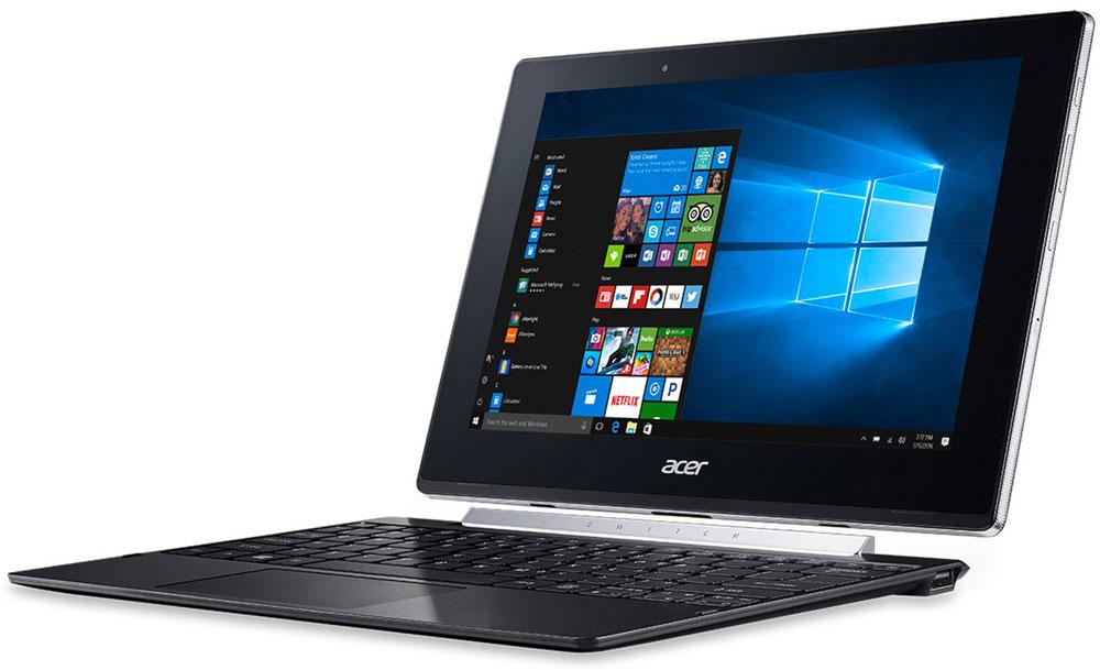 Acer Switch V10 SW5-017-16AB, BlackNT.LCDER.008Acer Switch V10 SW5-017-16AB - компактный и производительный ноутбук-планшет для повседневных задач как вофисе, так и в пути.Тщательно продуманный механизм крепления Acer Snap Hinge 2 позволяет отсоединять и присоединятьклавиатуру одним движением, без малейших усилий. Переключайтесь с легкостью между четырьмя режимами:ноутбук, планшет, презентация и дисплей.Процессор Intel Atom x5-Z8350 обеспечивает более высокое качество графики и улучшенную производительность,а также энергоэффективность. Это устройство 2-в-1 работает под управлением ОС Windows 10 и поддерживаетфункцию Continuum, которая автоматически переключает пользовательский интерфейс из режима планшета врежим ноутбук.Этот ноутбук создан с применением технологии Acer VisionCare, позволяющей включить защитный экран AcerBluelightShield, который уменьшает синее свечение экрана и предотвращает утомление глаз во время долгойработы. Технология Acer LumiFlex автоматически увеличивает контрастность при работе в условиях прямогосолнечного освещения, в том числе вне помещений — вам больше не придется щуриться, чтобы рассмотретьизображение на экране.Дисплей с технологией IPS обеспечивает четкое изображение независимо от угла обзора. Экран защищенсверхпрочным стеклом Gorilla Glass, устойчивым к царапинам и делающим их менее заметными. Двойные динамикиобеспечивают отличное качество звука, а две камеры (тыловая 5 Мпикс и фронтальная 2 Мпикс)позволяют слегкостью совершать видеозвонки.Точные характеристики зависят от модели.Ноутбук сертифицирован EAC и имеет русифицированную клавиатуру и Руководство пользователя.