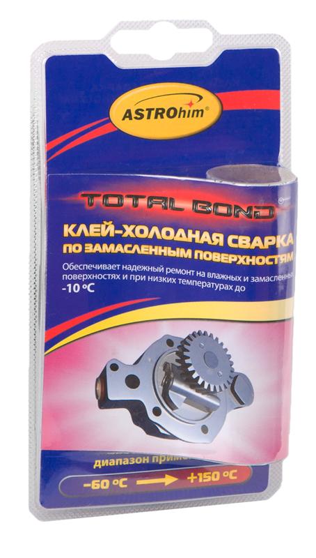 Клей-холодная сварка Astrohim, по замасленным поверхностям, 55 гPM 6515Клей по замасленным поверхностям предназначен для быстрого и надежного склеивания, ремонта деталей, герметизации соединений иемкостей, поверхность которых сложно или невозможно очистить от масляных загрязнений. Применяется также для восстановления утраченныхфрагментов изделий из черных и цветных металлов, пластмасс, керамики, дерева, работающих при температурах от -60 ?С до +150 С. Обеспечивает надежный ремонт на влажных и замасленных поверхностях, при низких температурах (до -10 °С, при условии замешивания смеси втеплом помещении).