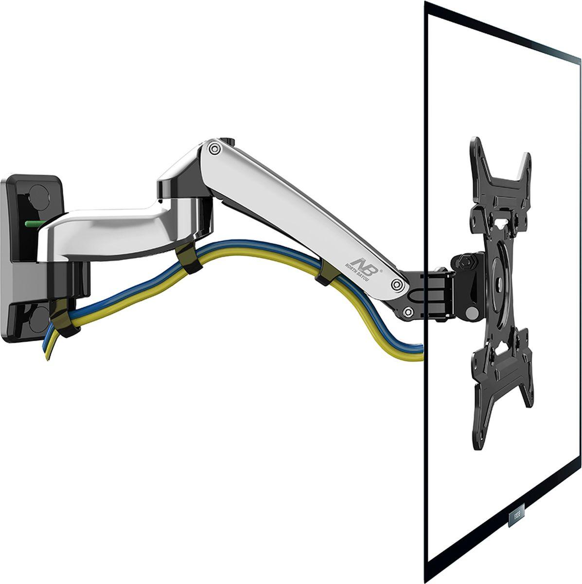 North Bayou NB F300, Chrome кронштейн1CSC20002465Настенный наклонно-поворотный кронштейн с регулировкой по высоте North Bayou NB F300 подходит для телевизоров с диагональю 30-40 и с весом от 5 до 10 кг. Благодаря встроенной газовой пружине вы можете с лёгкостью перемещать телевизор не только влево и вправо, но и вверх и вниз, при этом не прилагая усилий и не производя дополнительной фиксации. Именно технологии надёжных осевых соединений с газовой пружиной позволят вам отрегулировать положение телевизора для самого комфортного просмотра.