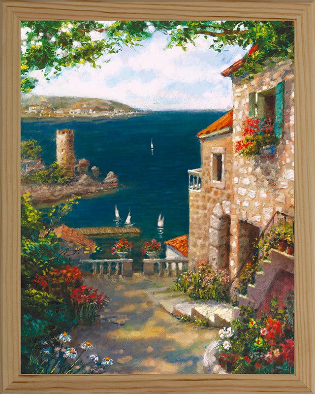 Картина Postermarket Средиземноморский пейзаж, 20 х 25 смES-412Картина Postermarket Средиземноморский пейзаж прекрасно подойдет для декора интерьера различных помещений.Постер, выполненный в технике фотопечать, оформлен багетом бежевого цвета.Картина для интерьера (постер) - это современное и актуальное направление в дизайне помещений. Ее можно использовать для оформления любых помещений (дом, квартира, офис, бар, кафе, ресторан или гостиница).работоспособность.Правильное оформление интерьера создает благоприятный психологический климат, улучшает настроение и мотивирует. Размер картины: 200 x 250 мм.
