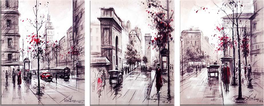 Картина Арт78 Улица, модульная, 90 см х 50 см. арт780047-3ES-412Ничто так не облагораживает интерьер, как хорошая картина. Особенную атмосферу создаст крупное художественное полотно, размеры которого более метра. Подобные произведения искусства, выполненные в традиционной технике (холст, масляные краски), чрезвычайно капризны: требуют сложного ухода, регулярной реставрации, особого микроклимата – поэтому они просто не могут существовать в условиях обычной городской квартиры или загородного коттеджа, и требуют больших затрат. Данное полотно идеально приспособлено для создания изысканной обстановки именно у Вас. Это полотно создано с использованием как традиционных натуральных материалов (холст, подрамник - сосна), так и материалов нового поколения – краски, фактурный гель (придающий картине внешний вид масляной живописи, и защищающий ее от внешнего воздействия). Благодаря такой композиции, картина выглядит абсолютно естественно, и отличить ее от традиционной техники может только специалист. Но при этом изображение отлично смотрится с любого расстояния, под любым углом и при любом освещении. Картина не выцветает, хорошо переносит даже повышенный уровень влажности. При необходимости ее можно протереть сухой салфеткой из мягкой ткани.