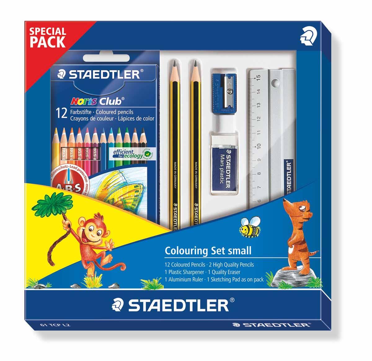 Staedtler Набор для рисования 61TCPL272523WDНовый набор для рисования от Staedtler в спец. упаковке. Включает 6 предметов: 1 шт.- цветные карандаши 144 NC 12; 2 шт. - чернографитовые карандаши 120-HB; 1 шт. - пластиковая точилка 510 20; 1шт. - ластик Mars; 1 шт. - алюминевая линейка.