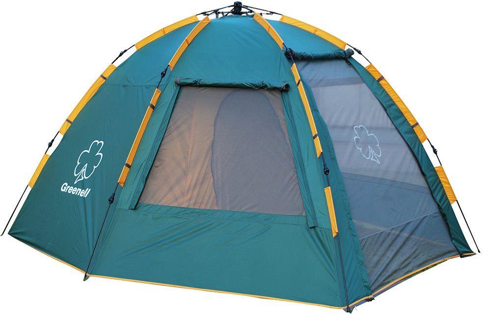 Палатка Greenell Хоут 4 V2, цвет: зеленыйАМNB-503Высокая кемпинговая палатка Greenell Хоут 4 V2 с полуавтоматическим каркасом, устанавливается за 1 минуту одним человеком. Этадвухслойная палатка имеет большой тамбур . Возможна отдельная установка тента. Палатка имеет:- Q-образный вход, который продублирован сеткой.- Улучшенную сквозную вентиляцию.- Облегченную регулировку оттяжек со световозвращающей нитью.-Москитную сетку. - Дополнительные стальные стойки для полога.