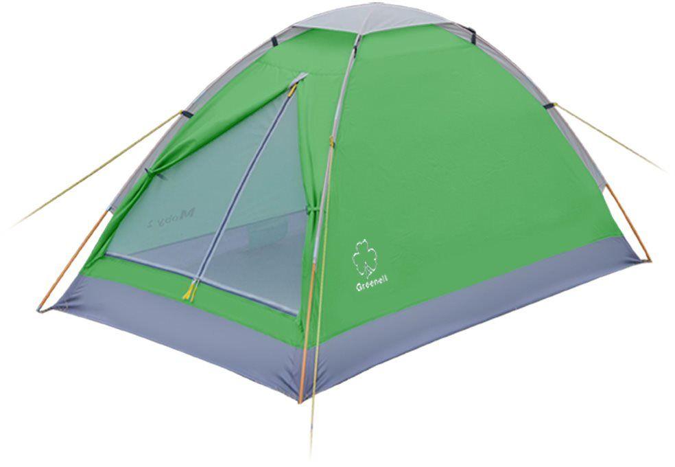 Палатка Greenell Моби 3 V2, цвет: зеленый, светло-серый0-70-648Компактная и легкая однослойная палатка Greenell Моби 3 V2 подходит для частой смены лагеря. Собранную палатку легко перемещать с местана место, а в случае необходимости можно закрепить с помощью штормовых оттяжек.Предусмотрена накладка на верхний вентиляционный клапан. Осуществляется хорошая вентиляция за счет верхнего клапана и сетки на входе. Пол с высоким порогом, выполнен из полиэстера с PU 3000, что обеспечивает надежную защиту от влаги.