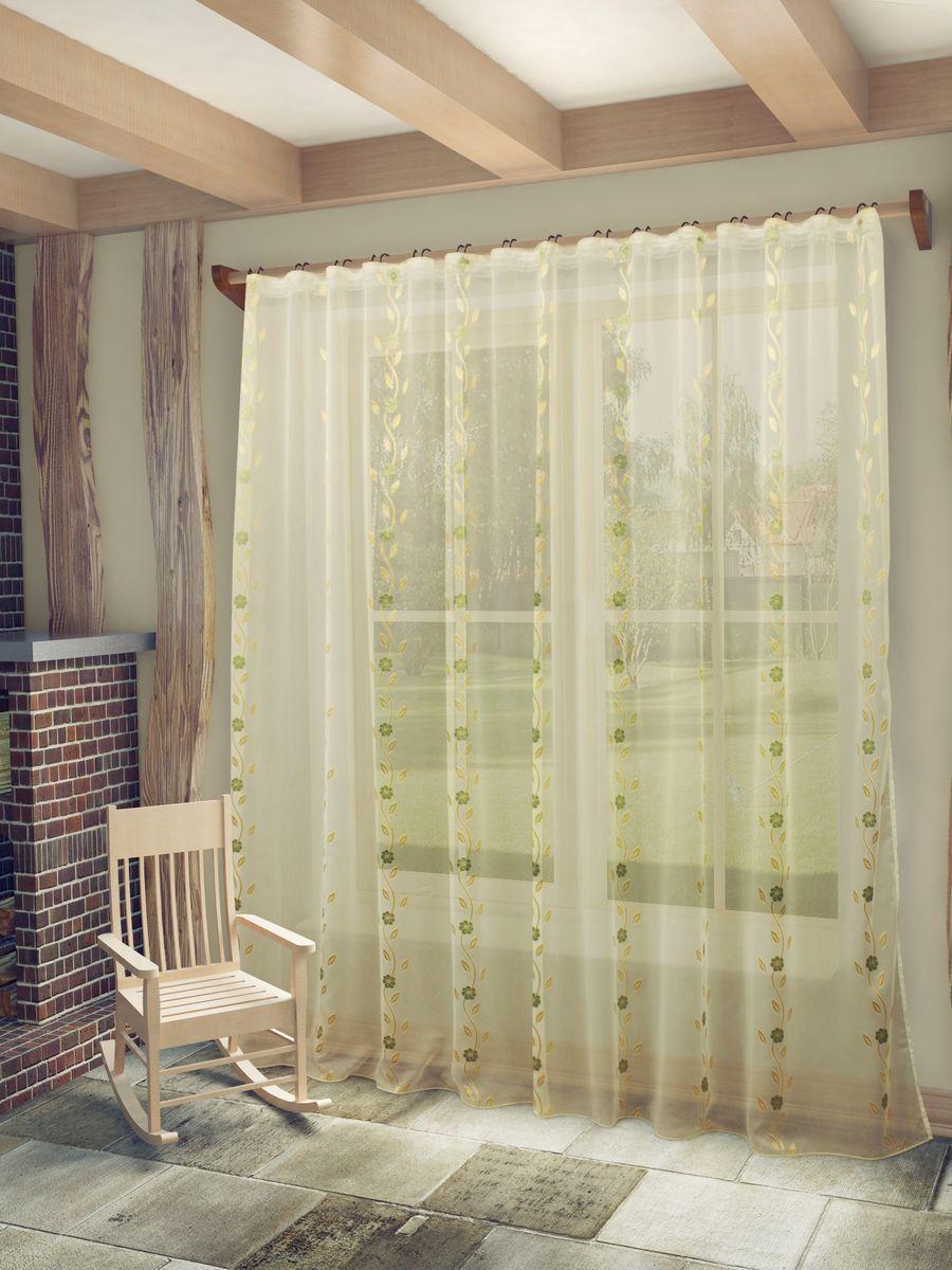 Тюль Sanpa Home Collection Розалия, на ленте, цвет: бежево-золотистый, высота 260 см10503Тюль Розалия нежного цвета изготовлена из высококачественных материалов.Воздушная ткань привлечет к себе внимание и идеально оформит интерьер любого помещения.Тюль сделает ваш интерьер более нежным, воздушным и невесомым. Можно драпировать окно только тюлью или только портьерами, но вместе они создают идеальную композицию. Мы рекомендуем под однотонные портьеры нейтральных тонов подбирать сложносочиненную тюль, с изысканной вышивкой и орнаментом, а под портьеры с рисунком или ярких тонов - выбирать тюль с минималистичным рисунком или вообще без него. Крепление к карнизу осуществляется при помощи вшитой шторной ленты.