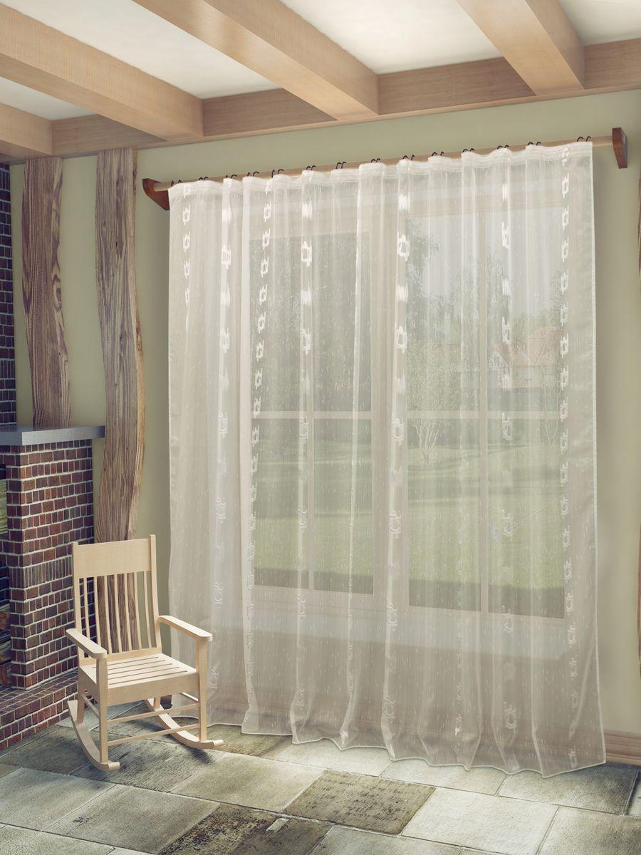 Тюль Sanpa Home Collection Женевра, на ленте, цвет: белый, высота 260 см10503Тюль Женевра нежного цвета в классическом исполнении изготовлена из ткани вуаль и жаккард.Воздушная ткань привлечет к себе внимание и идеально оформит интерьер любого помещения.Ткань вуаль - это гладкая, тонкая, полупрозрачная ткань, изготавливаемая из хлопка, шерсти, шёлка или полиэстера путём полотняного переплетения нитей.Крепление к карнизу осуществляется при помощи вшитой шторной ленты.