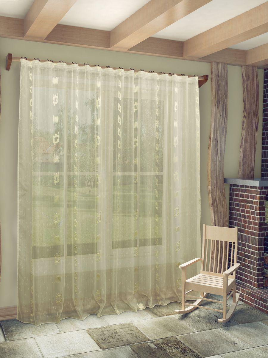 Тюль Sanpa Home Collection Женевра, на ленте, цвет: бежевый, высота 260 смS03301004Тюль Женевра нежного цвета в классическом исполнении изготовлена из ткани вуаль и жаккард.Воздушная ткань привлечет к себе внимание и идеально оформит интерьер любого помещения.Ткань вуаль - это гладкая, тонкая, полупрозрачная ткань, изготавливаемая из хлопка, шерсти, шёлка или полиэстера путём полотняного переплетения нитей.Крепление к карнизу осуществляется при помощи вшитой шторной ленты.