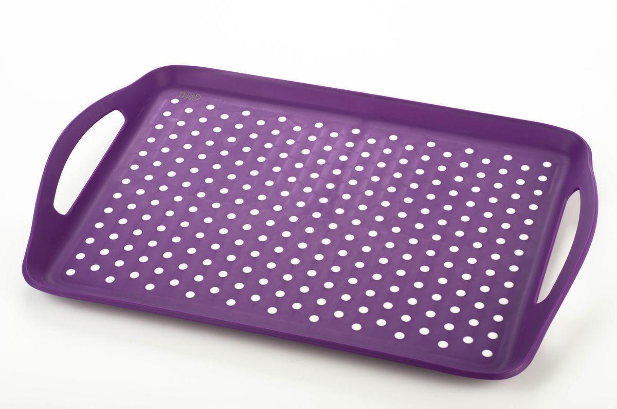 Поднос Gipfel, цвет: фиолетовый, 45,5 х 32 х 4,5 смVT-1520(SR)Посуда Gipfel изготовлена только из качественных, экологически чистых материалов. Также уделяется особое внимание дизайну продукции, способному удовлетворять вкусы даже самых взыскательных покупателей. Сталь 8/10, из которой изготавливается посуда и аксессуары Gipfel, является уникальной. Она отличается высокими эксплуатационными характеристиками и крайне устойчива к физическим воздействиям. Сложно найти более подходящий для создания качественной кухонной посуды материал. Отличительной чертой металлической посуды, выполненной из подобной стали, является характерный сероватый оттенок поверхности и особый блеск. Это позволяет приготовить более здоровую пищу.