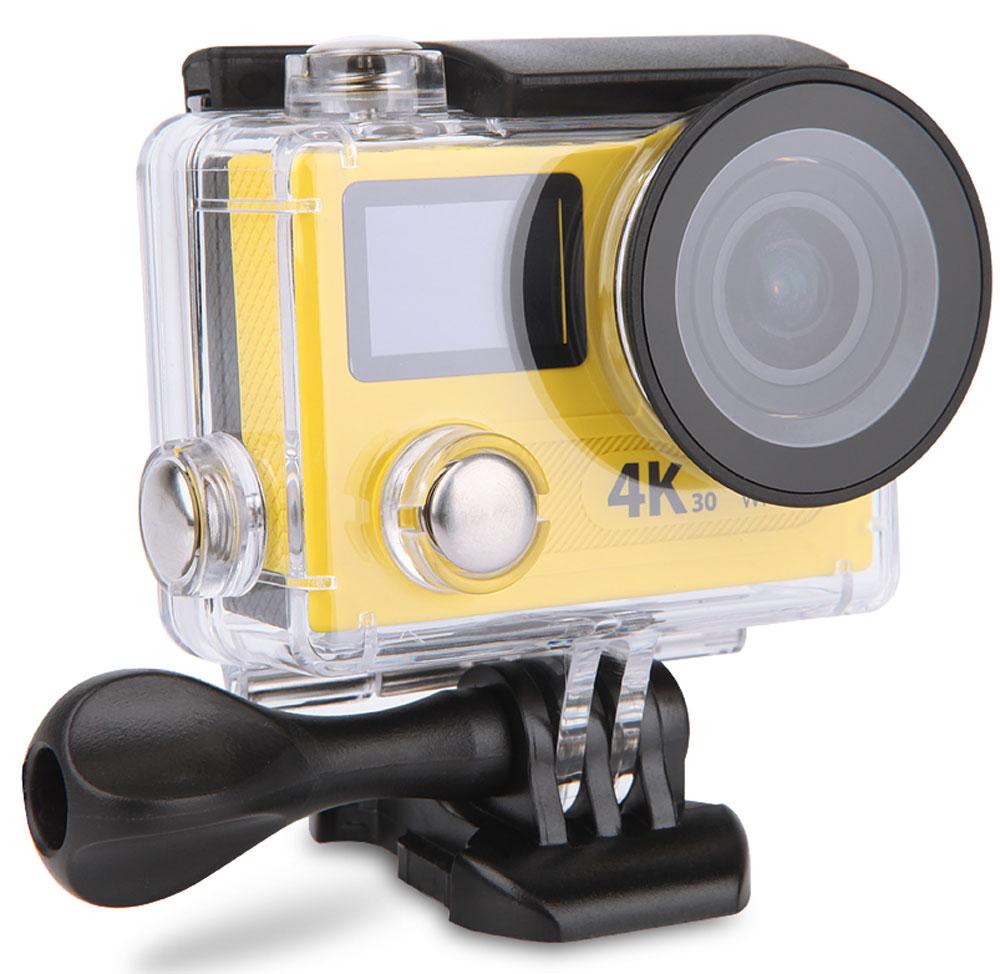 Eken H8 PRO Ultra HD, Yellow экшн-камераH8 PINKЭкшн-камера Eken H8 PRO Ultra HD позволяет записывать видео с разрешением 4К и очень плавным изображением до 30 кадров в секунду. Камера имеет два дисплея: 2 TFT LCD основной экран и 0.95 OLED экран статуса (уровень заряда батареи, подключение к Wi-Fi, режим съемки и длительность записи). Эта модель сделана для любителей спорта на улице, подводного плавания, скейтбординга, скай-дайвинга, скалолазания, бега или охоты. Снимайте с руки, на велосипеде, в машине и где угодно. По сравнению с предыдущими версиями, в Eken H8 PRO Ultra HD вы найдете уменьшенные размеры корпуса, увеличенный до 2-х дюймов экран, невероятную оптику и фантастическое разрешение изображения при съемке 30 кадров в секунду!Управляйте вашей H8 PRO на своем смартфоне или планшете. Приложение Ez iCam App позволяет работать с браузером и наблюдать все то, что видит ваша камера. В комплекте с камерой идет пульт ДУ работающий на частоте 2,4 Ггц. Он позволяет начинать и заканчивать съемку удаленно.Чипсет: Ambarella A12 Сенсор: Sony IMX078 Батарея: 1050 мАч