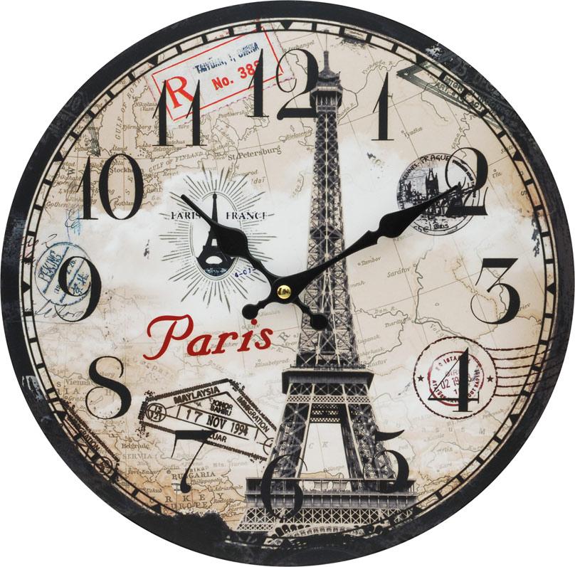 Часы настенные Белоснежка Эйфелева башня, диаметр 34 см54 009303Циферблат: открытый, выполнен из листа оргалита с декоративным покрытием. Стрелки металлические – часовая и минутная. Часовой механизм закрыт пластиковым корпусом. Питание от одного элемента питания стандарта АА. Отверстие для крепления часов на стену. Диаметр 34 см.
