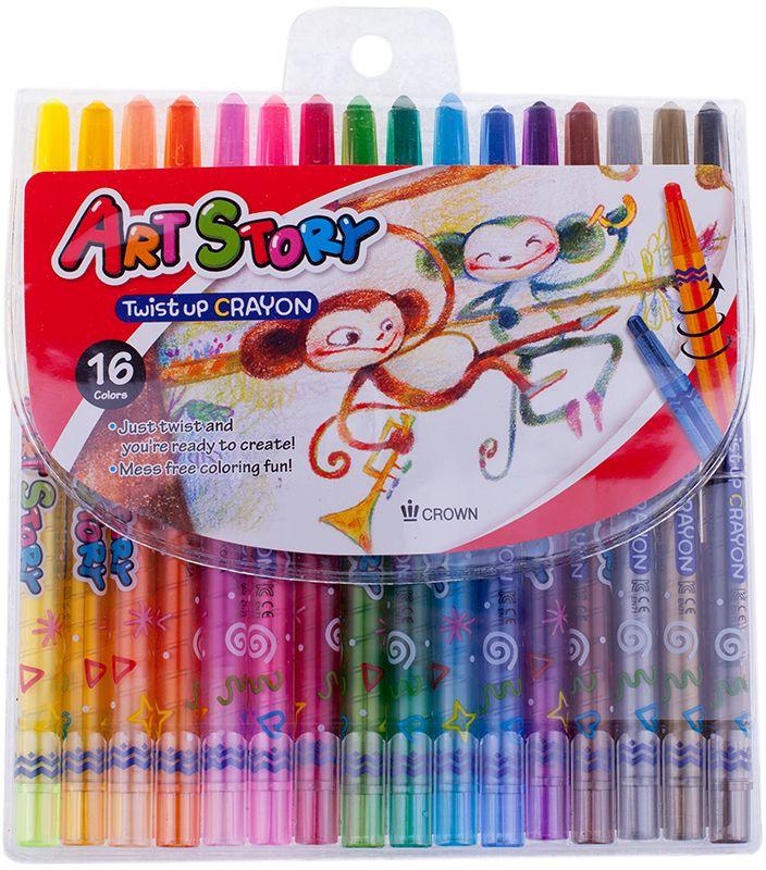 Crown Карандаши восковые 16 цветовPP-001Восковые карандаши отличаются необыкновенной яркостью и стойкостью цвета, легко смешиваются, создавая огромное количество оттенков.Очень прочные, не крошатся, не ломаются, не образуют пыли, не нуждаются в затачивании.