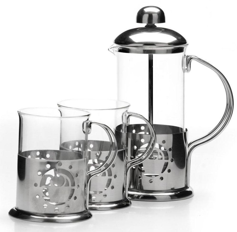 Френч-пресс Mayer&Boch, 350 мл, + стаканы 2 х 200 мл . 26264VT-1520(SR)Предметы чайно-кофейного набора Mayer&Boch изготовлены из высокотехнологичных материалов на современном оборудовании. Колба из высококачественного боросиликатного термостойкого стекла заключена в корпус из нержавеющей стали. Фильтр-поршень Френч-пресса выполнен по технологии press-up для обеспечения равномерной циркуляции воды в чайнике, кроме того, фильтр предохраняет от попадания в бокал чайной заварки или частичек молотого кофе. Все предметы набора оснащены удобными не нагревающимися ручками, которые также выполнены из качественной нержавеющей стали. Практичный и стильный дизайн полностью соответствует последним модным тенденциям в создании предметов бытовой техники. Френч-пресс Mayer&Boch позволит вам быстро и без усилий приготовить свежий ароматный кофе или чай, а удобные бокалы всегда будут востребованы на вашей кухне. Подходит для мытья в посудомоечной машине. Не использовать чистящие и дезинфицирующие средства, содержащие хлор. Не подходит для использования на открытом огне.