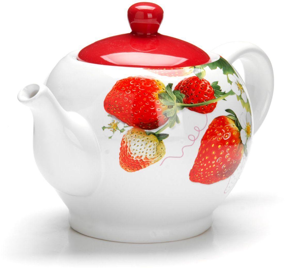 Заварочный чайник Loraine Клубника, 950 мл. 2634794672Заварочный чайник с крышкой Loraine поможет вам в приготовлении вкусного и ароматного чая, а также станет украшением вашей кухни. Он изготовлен из доломитовой керамики в розовых тонах и оформлен красочным цветочным изображением. Нежный рисунок придает чайнику особый шарм, чайник удобен в использовании и понравится каждому. Такой заварочный чайник станет приятным и практичным подарком на любой праздник. Подходит для мытья в посудомоечной машине.