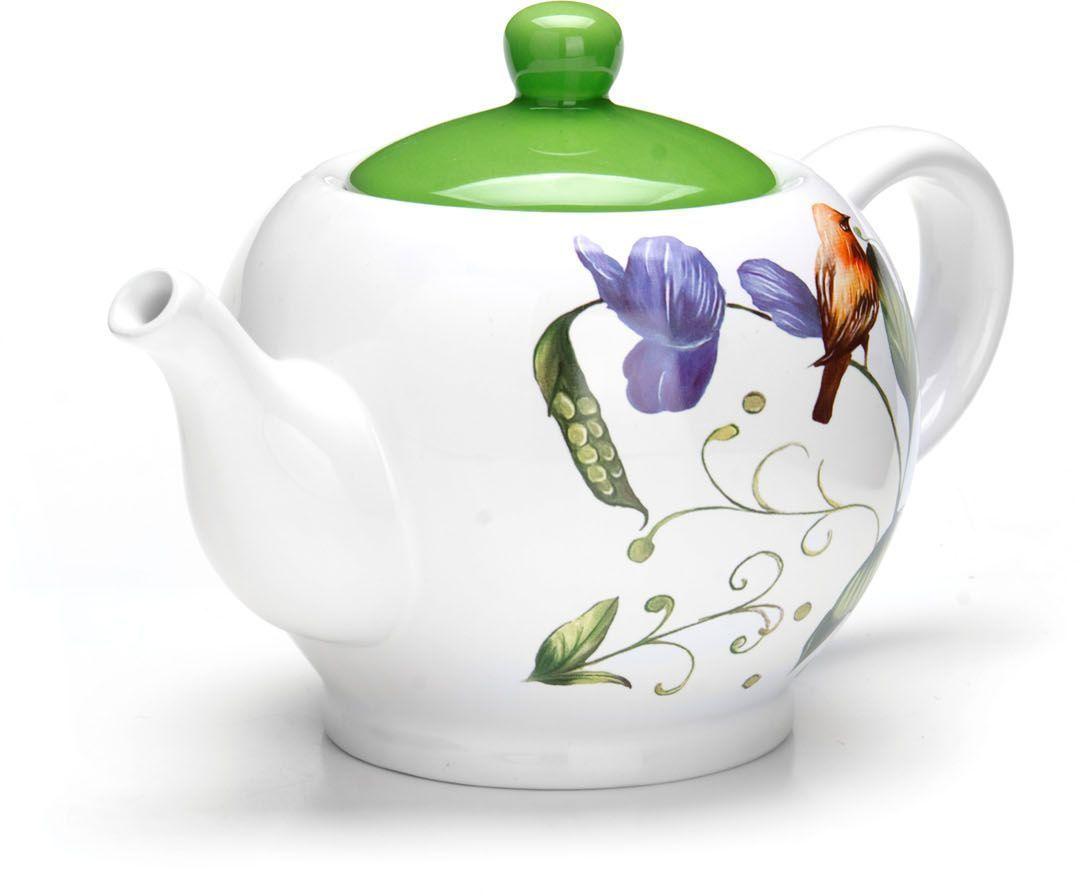 Заварочный чайник Loraine Птичка, 950 мл, с крышкой. 26607CM000001328Заварочный чайник с крышкой Loraine поможет вам в приготовлении вкусного и ароматного чая, а также станет украшением вашей кухни. Он изготовлен из доломитовой керамики в розовых тонах и оформлен красочным цветочным изображением. Нежный рисунок придает чайнику особый шарм, чайник удобен в использовании и понравится каждому. Такой заварочный чайник станет приятным и практичным подарком на любой праздник. Подходит для мытья в посудомоечной машине.