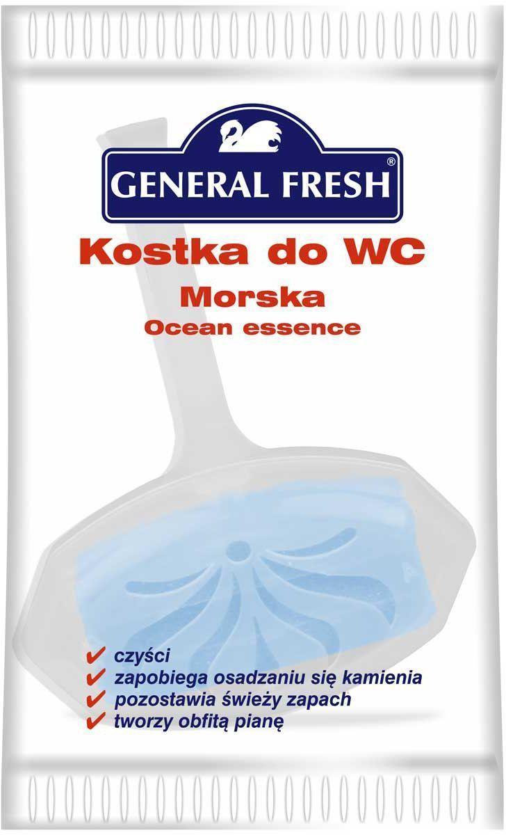 Подвеска для унитазов General Fresh Kostka do WC, в целлофане, 1 шт. 56101068/5/3Моющее и освежающее средство для унитаза длительного действия с различными ароматами. Закрепляется за край унитаза и при каждом смыве моет и дезинфицирует поверхность, ароматизируя воздух. Убивает бактерии, предотвращает образование отложений в труднодоступных местах.