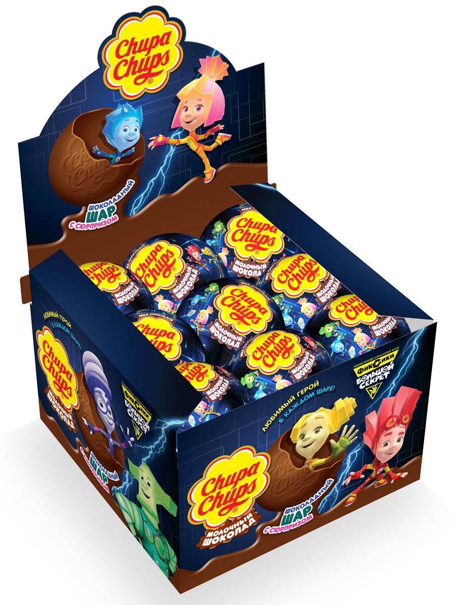 Chupa Chups Фиксики 2 молочный шоколад, 18 штук по 20 г0120710Внутри каждого шоколадного шара Chupa-Chups ты найдешь новую игрушку, а снаружи - именно такой шоколад, как ты любишь. Какая игрушка попадется тебе в этот раз? Соберите всю коллекцию и обменивайтесь с друзьями!