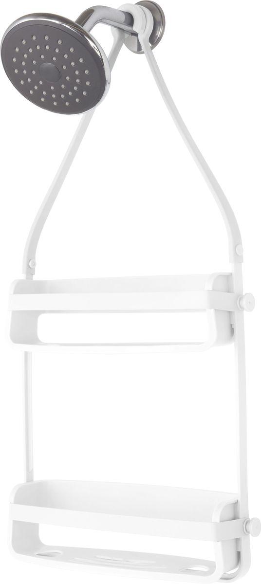 Органайзер для ванной Umbra Flex, цвет: белый, 40,9 х 10,2 х 35,1 смUP210DFУдобный органайзер, который позволяет разместить максимум предметов на минимальном пространстве. Прочная основа выдерживает до 3,5 кг. В каждой полке предусмотрены отверстия, которые позволяют, перевернув флакон с гелем или шампунем, использовать его как диспенсер. Силиконовые ленты со специальными крючками позволяют повесить органайзер на крепление для душа или на штангу для занавески.Дизайн: Tom Chung