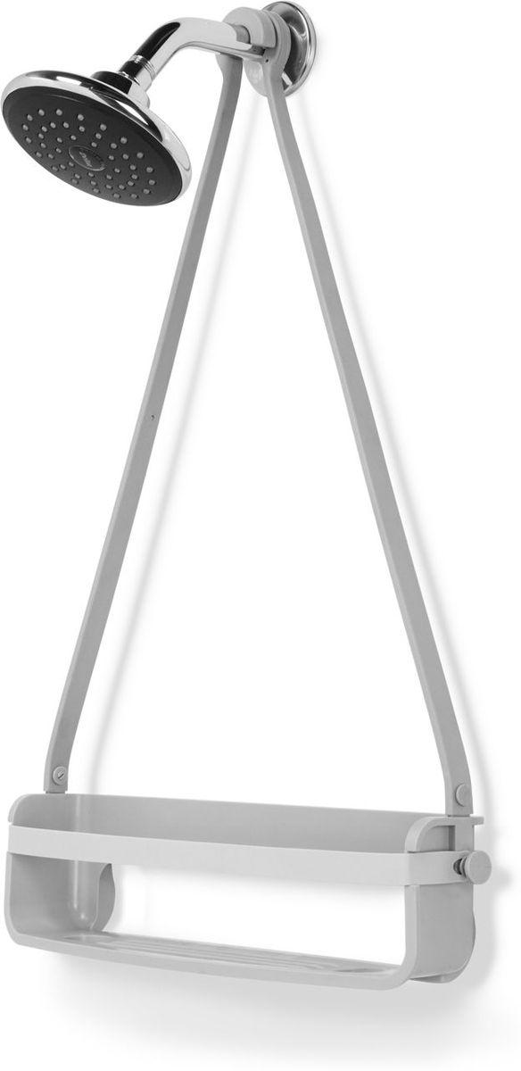 Органайзер для душа Umbra Flex Single, цвет: серый, 61 х 41,3 х 1,2 смUP210DFУменьшенный вариант органайзера для душа FLEX. Этот органайзер состоит из одной полочки и 2 крючков по бокам. Может использоваться отдельно или в комплекте со стандарным FLEXом. Благодаря креплениям может устанавливаться на стойку для душа или дверь душевой кабины. Не подвержен ржавчине! Благодаря эластичным перемычкам удержит даже самые большие бутылки с гелями и шампунями. Отверстия в полочках не дадут воде застаиваться.Дизайнер Umbra Studio