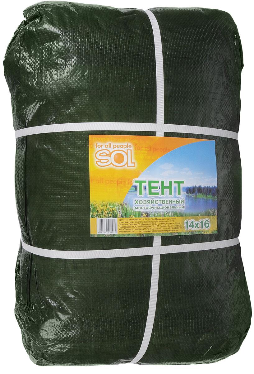 Тент терпаулинг Sol, цвет: темно-зеленый, 14 х 16 м09840-20.000.00Тент терпаулинг Sol изготовлен из высокосортного водонепроницаемого полиэтиленового сырья. По краю пропущен усиливающий капроновыйшпагат и установлены металлические люверсы, благодаря которым тент можно монтировать на каркасную основу или использовать длясвободного укрытия объектов. Тент используется для укрытия стройматериалов от дождя и снега, для сооружения временных навесов, для закрытия оконных проемов, дляукрытия грузов, прицепов, автомашин, в качестве навесов, палаток, подстилок в походах, на отдыхе. Размер: 14 х 16 м.