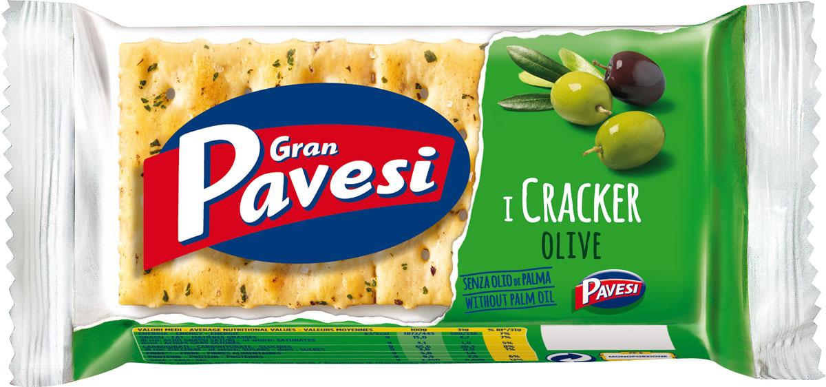 Gran Pavesi Cracker с оливками, 31 г0120710Gran Pavesi Cracker Olive - классический легкий соленый крекер с уникальной структурой и насыщенным вкусом Средиземноморья, приготовленный по традиционным итальянским рецептам на основе высококачественных и натуральных ингредиентах. Без гидрогенизированных жиров, консервантов и красителей.