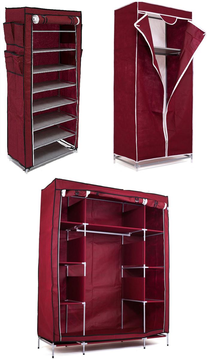 Набор кофров для хранения Homsu, цвет: бордовый, 3 предметаES-412Уникальный дизайн этого комплекта станет настоящим украшением для любого интерьера. Практичная составляющая подобной мебели также вне сомнений. Лёгкие и прочные устойчивые конструкции из каркасов и тканевой обивки могут быть легко собраны вами без посторонней помощи, буквально за несколько минут. Такая мебель будет всегда удобной и максимально практичной, ведь верхнюю тканевую часть при надобности можно всегда постирать либо же попросту поменять на аналогичную другого цвета. Кроме того, такие конструкции всегда будут отличным решением для того, кому по душе мобильность и постоянная смена обстановки. 1400х500х1750; 680х450х1550; 600х300х1360