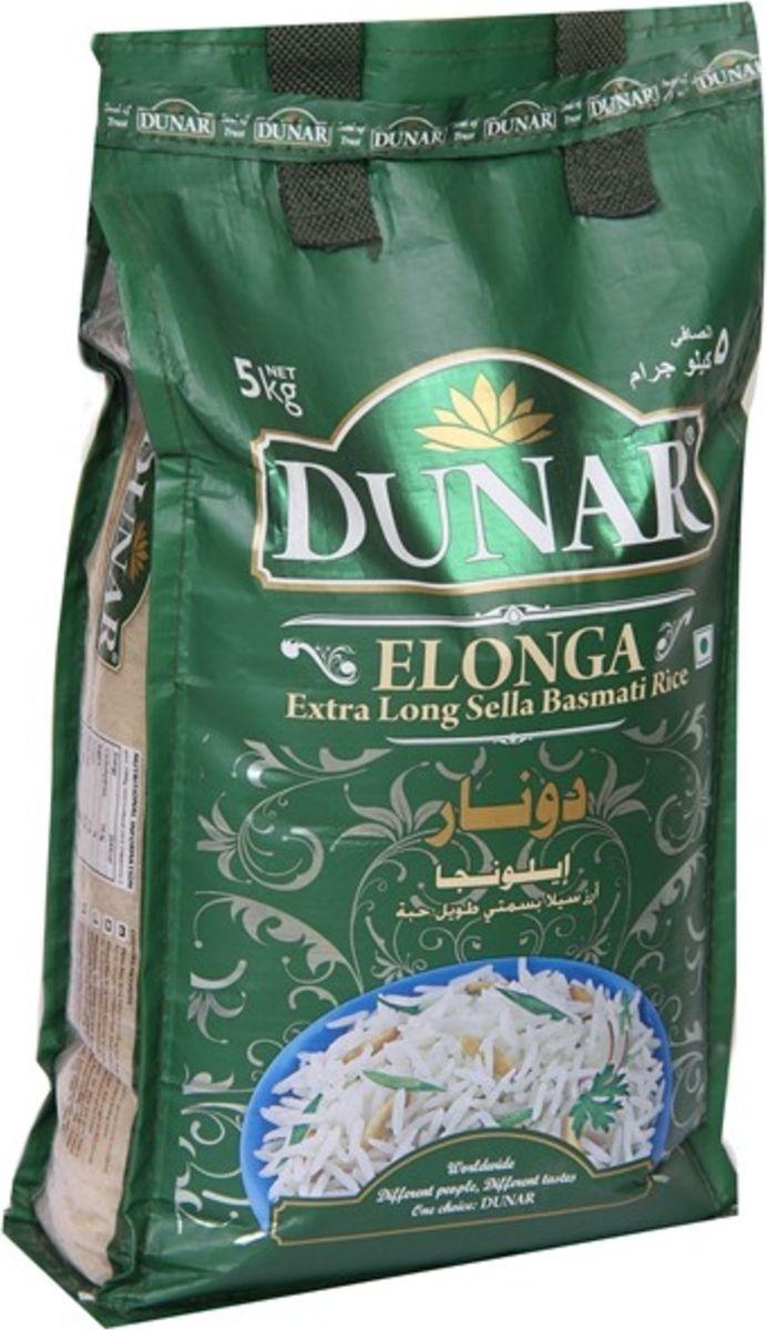 Dunar Elonga Sella пропаренный басмати рис, 5 кг0120710Пропаренный кремовый рис басмати, выдержка риса 2 года, длина риса в приготовленном виде 19 мм