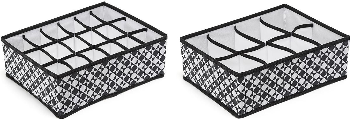 Набор органайзеров Homsu, 31 х 24 х 11 см, 2 шт10503Этот комплект состоит из прямоугольного и плоского органайзера с 18 раздельными ячейками 7см на 5см и прямоугольного и плоского органайзера с 8 раздельными ячейками 12см на 8см. Они очень удобны для хранения мелких вещей в вашем ящике или на полке. Идеально подойдут для носков, платков, галстуков и других вещей ежедневного пользования. Имеют жесткие борта, что является гарантией сохраности вещей. 310x240x110; 310x240x110