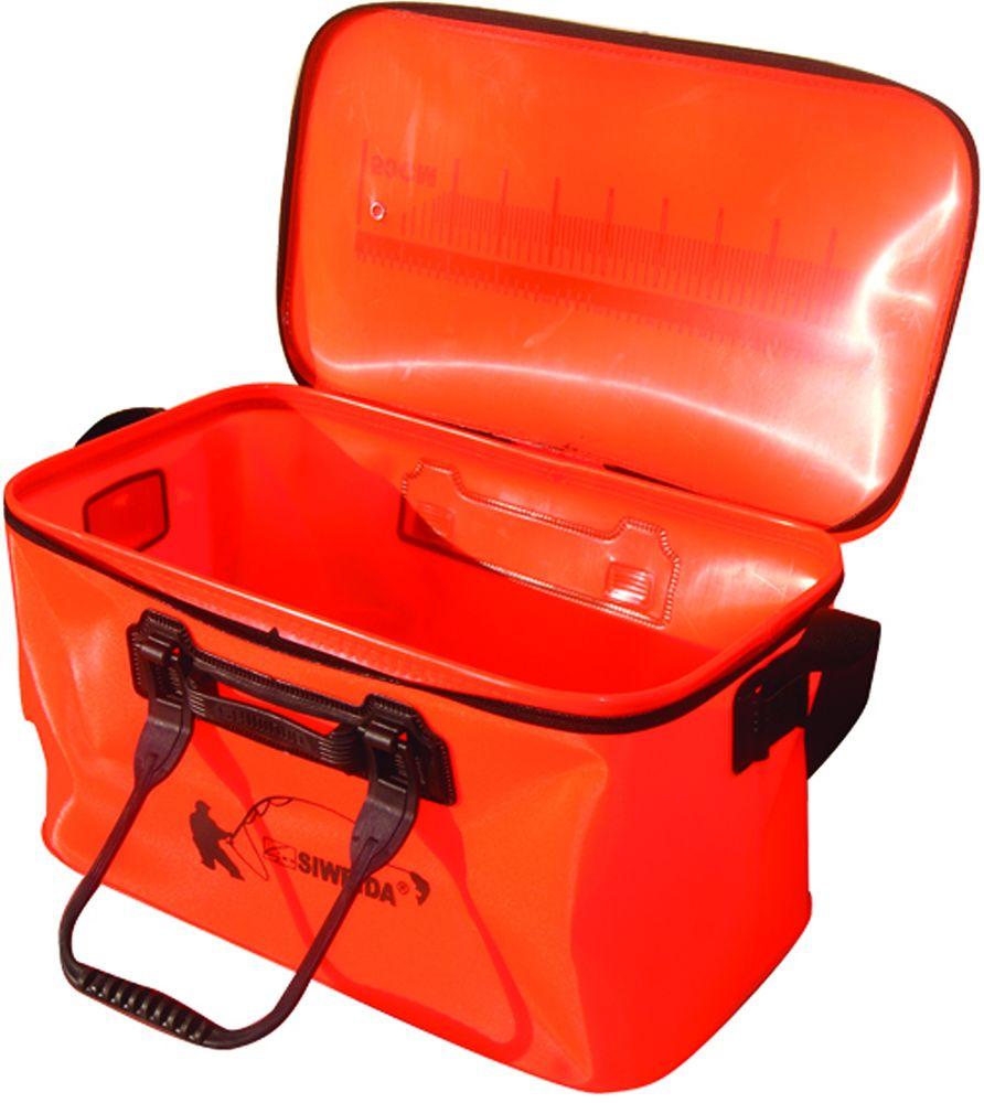 Сумка рыболовная SWD, 45 х 25 х 30 см162Универсальная сумка из п/э толщиной 1 мм и с размерами 45 х 25 х 30 см. Изготовление из пэ позволяет складывать ее при перевозке, что очень удобно. Сумка имеет ручки с возможностью фиксации, ремень на плечо и верх, застегивающийся на молнию.Подходит для замешивания прикормки, перевозке живой рыбы.